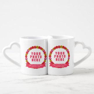 Flower Wreath custom texts & 2 photos mug set Couples' Coffee Mug Set