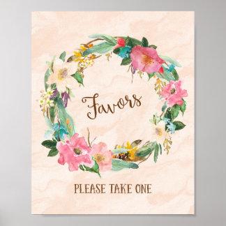 Flower Wreath Favors Wedding Poster Print