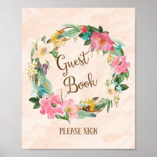 Flower Wreath Guest Book Wedding Poster Print