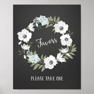 Flower Wreath Wedding Favors Sign Poster Print