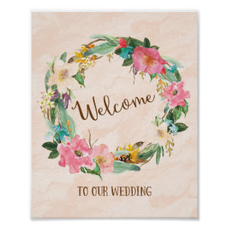 Flower Wreath Welcome Wedding Poster Print