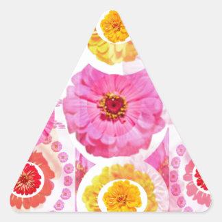 Flower ZINNIA Collage - Enjoy n Share JOY Triangle Sticker