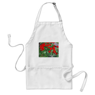 Flowerbed with red tulips adult apron