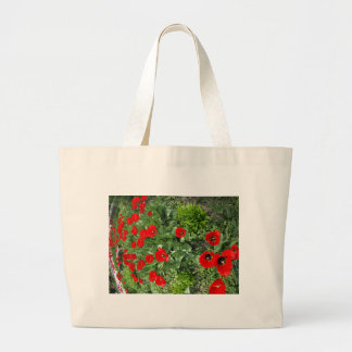 Flowerbed with red tulips jumbo tote bag