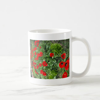 Flowerbed with red tulips coffee mug
