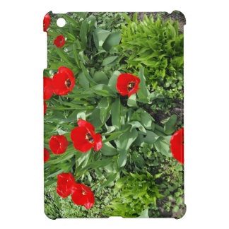 Flowerbed with red tulips iPad mini case