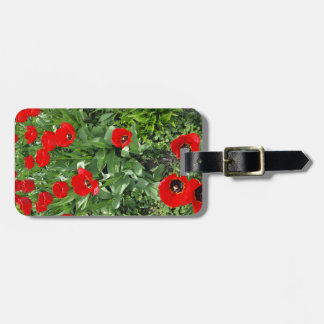 Flowerbed with red tulips bag tags