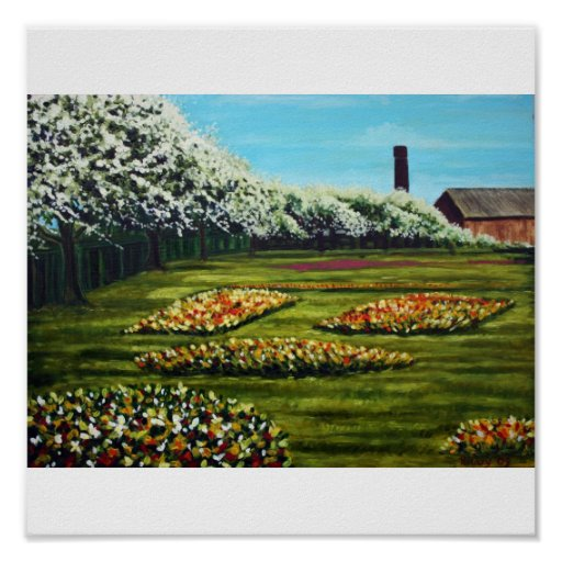 Flowerbeds in Spring Poster