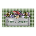 Flowerbox and green Gingham Business Card
