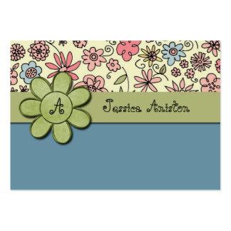 Flowerchild Blue Whimsy Monogram Business Cards