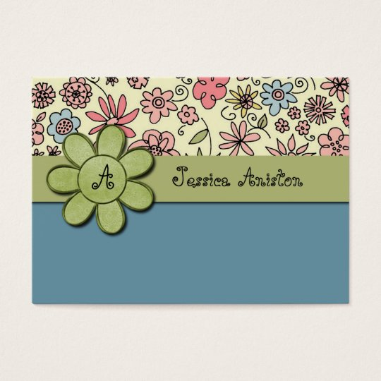 Flowerchild Blue Whimsy Monogram Business Card