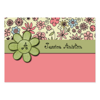 Flowerchild Pink Whimsy Monogram Business Card Templates
