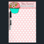 """Flowered Cupcake Dry Erase Board<br><div class=""""desc"""">Customize your dry erase board with name,  business,  website or any inspirational message for a Perfectly Personalized home or office accent - makes a truly unique gift idea too!</div>"""