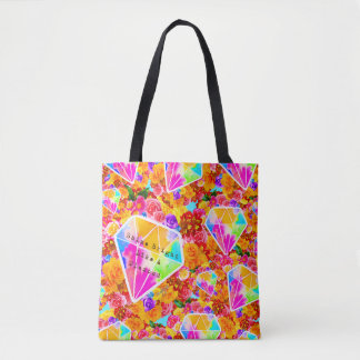 Flowered Diamond Collage Tote Bag