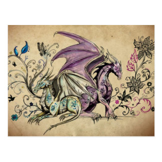 Flowered dragons - postcard