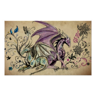 Flowered dragons - posters