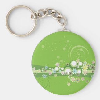 Flowered Green Whimsy Keychain
