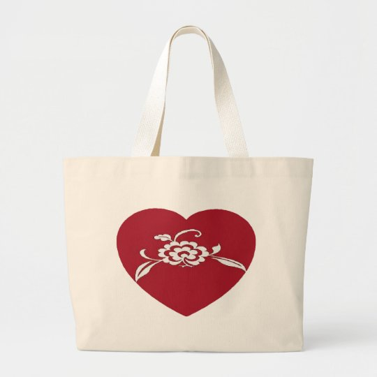 Flowered Heart Large Tote Bag