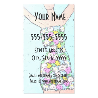 Flowered lady business cards