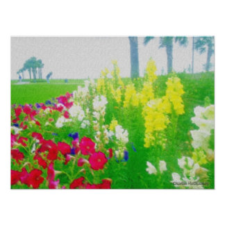 flowered landscape poster