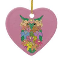 Flowered Owl Ceramic Ornament