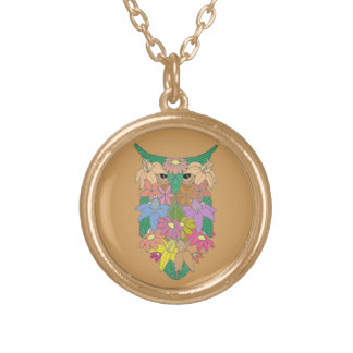 Flowered Owl Gold Plated Necklace