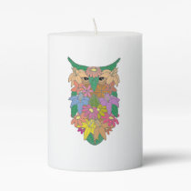 Flowered Owl Pillar Candle