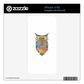 Flowered Owl Skins For iPhone 4