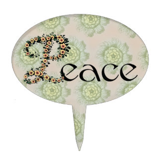 Flowered Peace Cake Topper