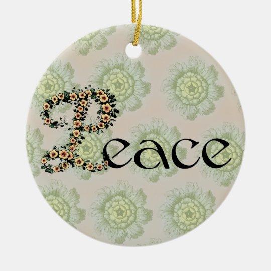 Flowered Peace Ceramic Ornament