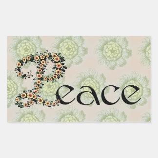Flowered Peace Rectangular Sticker