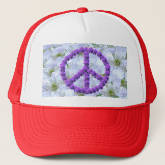 flowered peace sign trucker hat