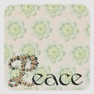 Flowered Peace Square Sticker