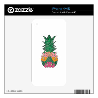 Flowered Pineapple Decals For The iPhone 4S