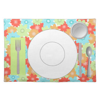 Flowered Placemat with plate, glass & flatware