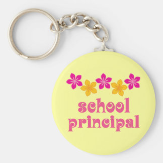 Flowered School Principal Keychain