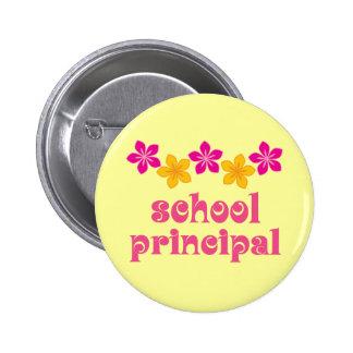 Flowered School Principal Pinback Button