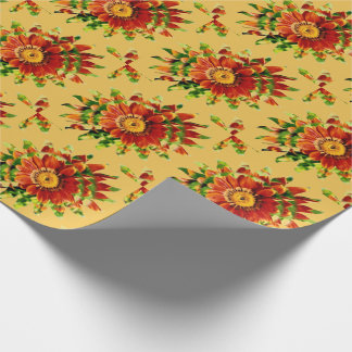 Flowered Starburst Wrapping Paper