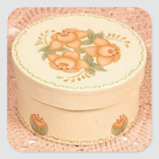 Flowered  trinket box with orange and creme colors square sticker