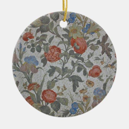 Flowered Wallpaper Ornament Round Ceramic Ornament