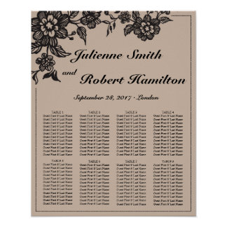 Floweret   Rustic Wedding Seating Chart Poster