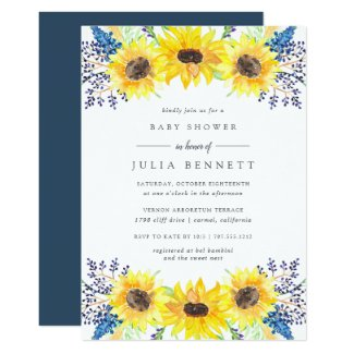 Purple and Yellow Sunflower Baby Shower Invitations