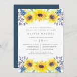 """Flowerfields Bat Mitzvah Invitation<br><div class=""""desc"""">Our Flowerfields bat mitzvah invitation surrounds your daughter's bat mitzvah details with clusters of yellow watercolor sunflowers,  blue and purple buds,  and green foliage. A sweet choice for bat mitzvah celebrations in rustic outdoor or country settings. Includes space for both the religious ceremony and party or celebration to follow.</div>"""
