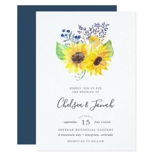 Sunflower Themed Wedding Invitations, Navy Blue Floral