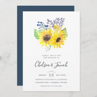 Sunflower Themed Wedding Invitations, Navy Blue Floral