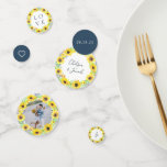 """Flowerfields Confetti<br><div class=""""desc"""">Dress up your engagement party, rehearsal dinner or wedding reception with custom confetti. Designed to match our rustic country floral Flowerfields collection, confetti features yellow sunflower wreaths with a variety of messages, including your names, wedding date, initial, """"LOVE"""" and a small heart. Personalize with a favorite photo as well, ringed...</div>"""