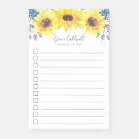 Flowerfields Personalized To-Do List Post-it Notes