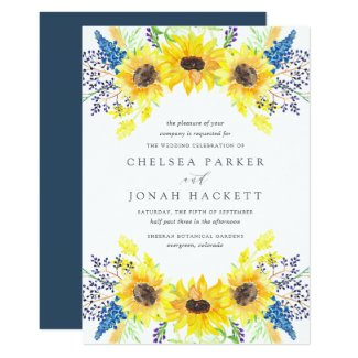 Royal Blue and Sunflower Wedding Invitations