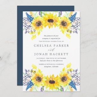 Royal Blue and Sunflower Wedding Invitations
