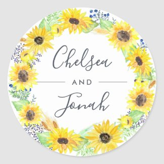 Flowerfields Wreath Wedding Classic Round Sticker
